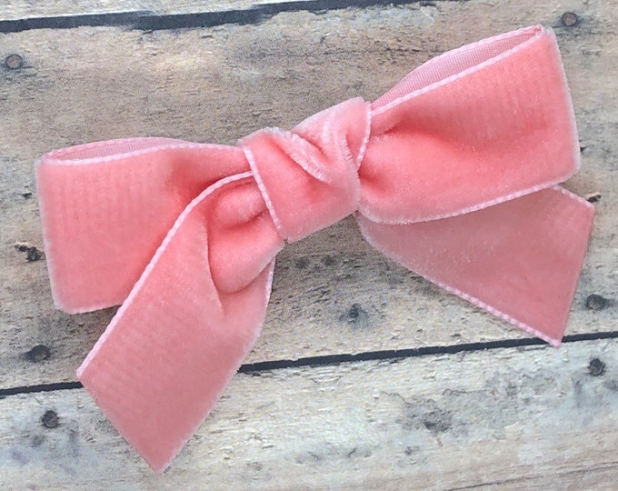 Velvet hair bow - hair bows, hair clips, bows for girls, baby bows, baby hair bows, baby hair clips, baby girl