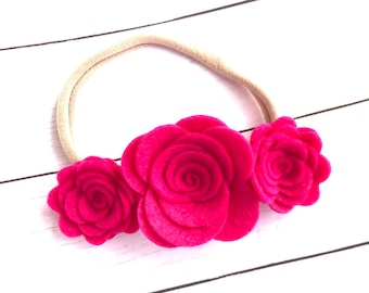 Pink felt baby headband - baby headbands, felt baby crown, nylon headband, baby girl headband, newborn headband, baby girl, baby bows, bows