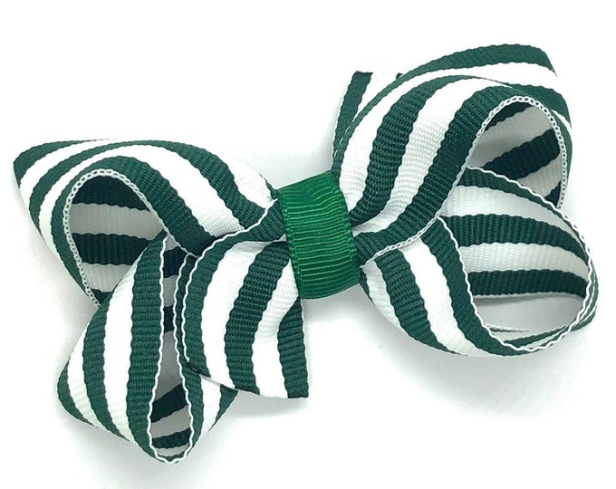 Dark green hair bow - hair bows for girls, baby bows, pigtail bows, toddler hair bows, boutique bows
