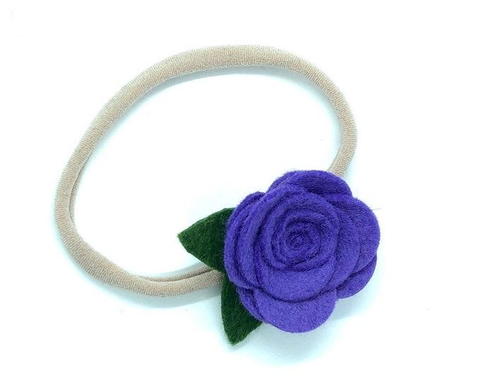 Baby headband - nylon headbands, baby headbands, baby girl headbands, purple baby headband, flower headband, baby bows, baby bow headbands