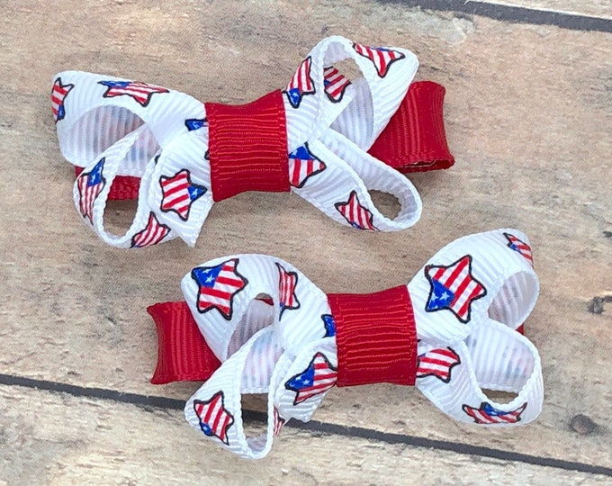 Fourth of July baby bows - baby bows, hair bows, toddler bows, hair clips, baby hair bows, girls hair bows