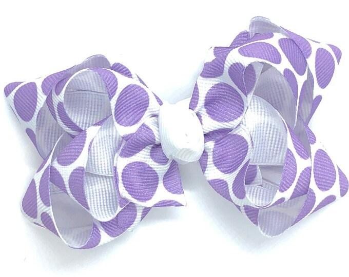 Light purple polka dot hair bow - hair bows, baby bows, girls hair bows, toddler bows, 3 inch hair bows