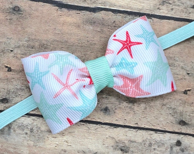 Starfish baby headband - baby girl headband, baby headband bows, baby bows, newborn headband, baby bow headband, baby girl