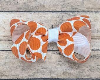 Burnt orange polka dot hair bow - hair bows, baby bows, girls bows, toddler hair bows, boutique hair bows, 3 inch hair bows