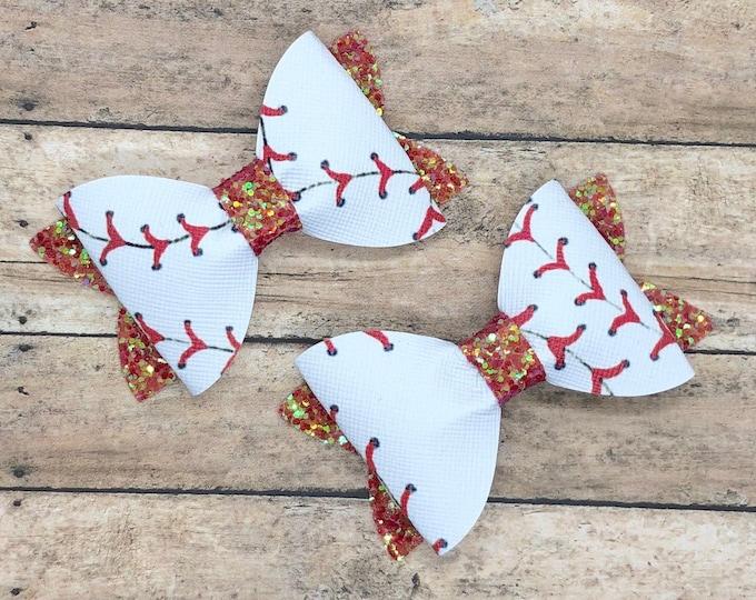 Baseball hair bows - glitter bows, hair bows, baby bows, girls bows, faux leather bows, hair clips, toddler bows