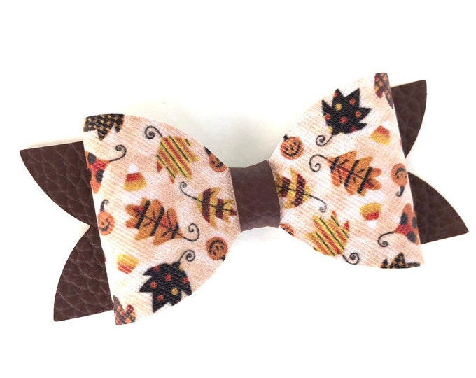 Faux leather bow - hair bows, bows for girls, baby bows, toddler hair bows, girls bows, 4 inch hair bows