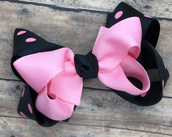 Hair bows for girls - pink and black hair bow, toddler hair bows, boutique bows, 4 inch hair bows