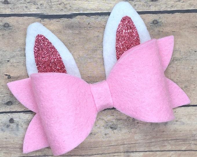 Bunny ears felt hair bow - hair bows, bows for girls, baby bows, girls hair bows, toddler bows