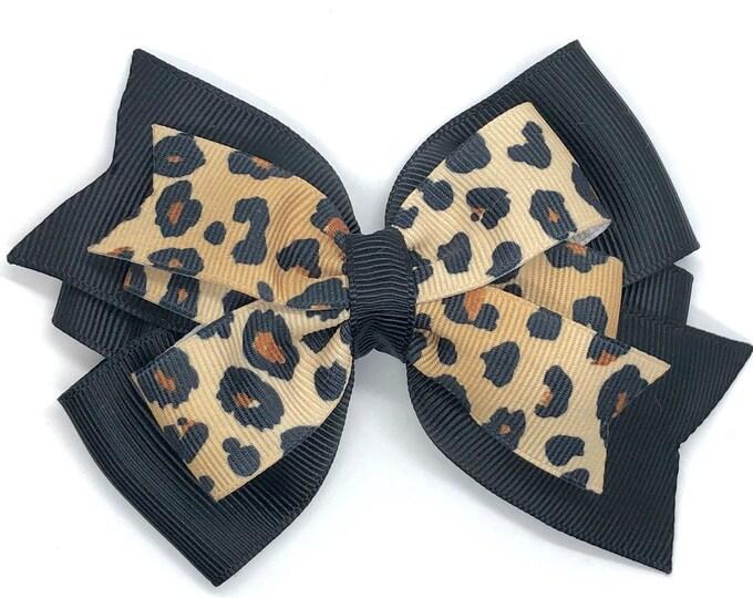 Leopard print hair bow - hair bows, girls hair bows, toddler bows, 4 inch hair bows