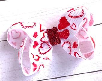 Valentine's Day - hair bows, baby headband, baby bows, toddler bows, girls bows, boutique bows, baby headband bows