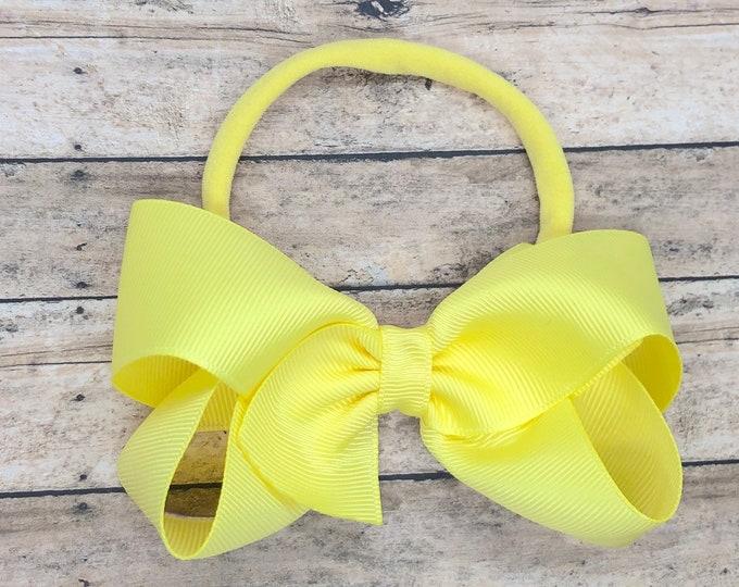 Lemon baby headband - baby girl headband, nylon headband, baby headband bows, newborn headband, baby bows, baby hair bows