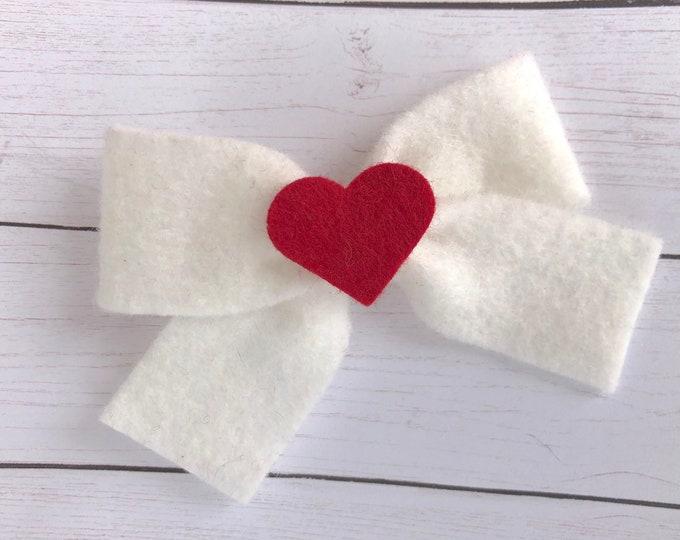 Valentine's Day - felt bow, hair bows, bows for girls, hair clips, felt hair clip, hair clips for girls, baby bows, felt hair bow