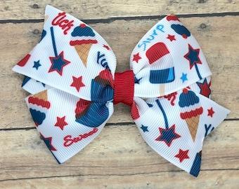 Fourth of July hair bow - hair bows, hair clips, bows for girls, girls hair bows, toddler hair bows