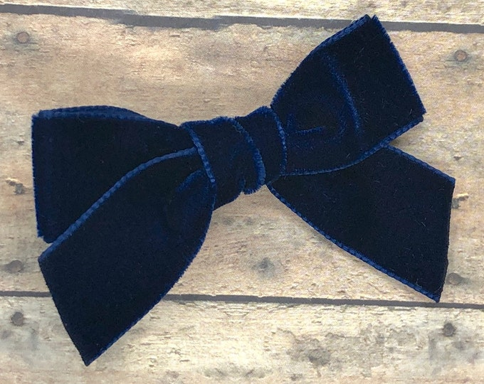 Velvet hair bow - hair bows, girls bows, velvet bows, toddler bows, baby bows, baby headband, nylon headband