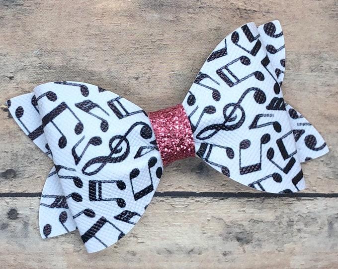 Music notes hair bow - faux leather bows, hair bows, baby bows, girls hair bows, baby headband, toddler bows