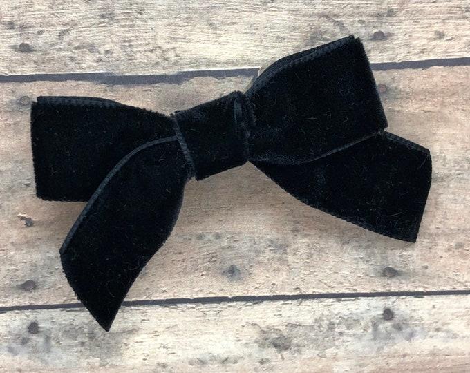 Velvet hair bow - hair bows, velvet bows, girls bows, baby bows, toddler hair bows, 3 inch hair bows