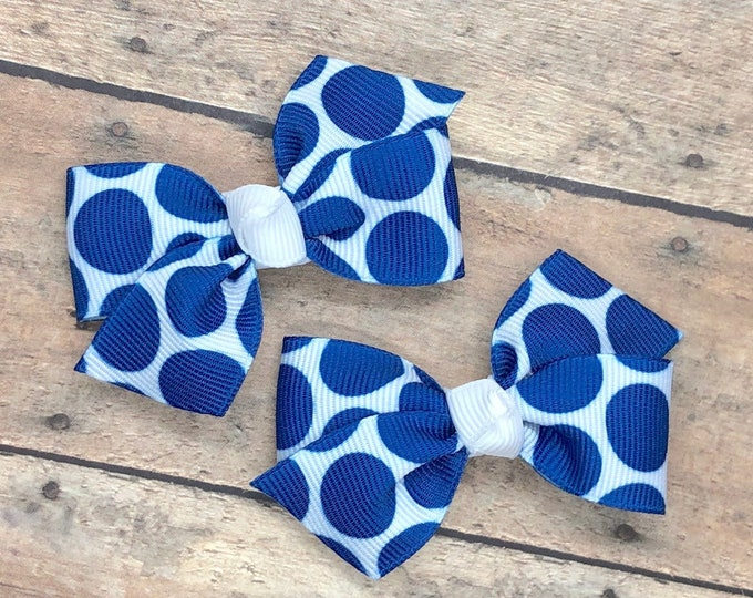 Royal blue pigtail bows - hair bows, baby bows, bows for girls, toddler bows, hair clips, baby hair bows, baby hair clips