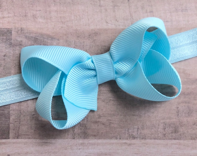 Light blue baby headband - baby headband bows, baby girl headband, baby bows, newborn headband, hair bows, headbands baby