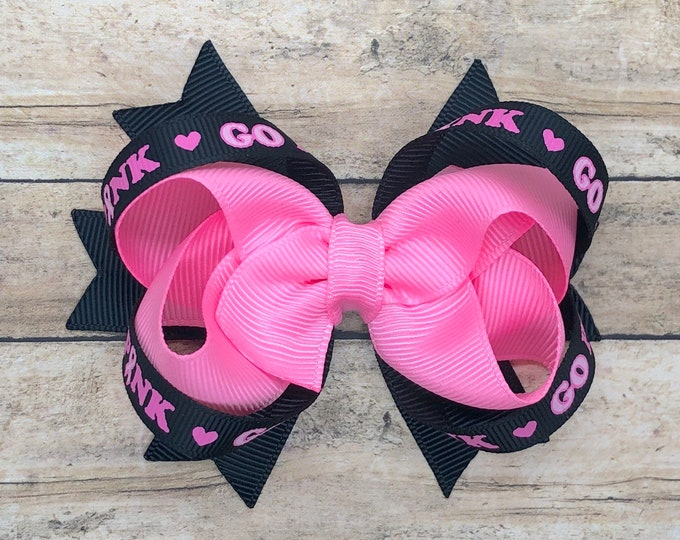 Breast cancer awareness hair bow - hair bows for girls, hair bows, girls bows, baby bows, bows, toddler hair bows