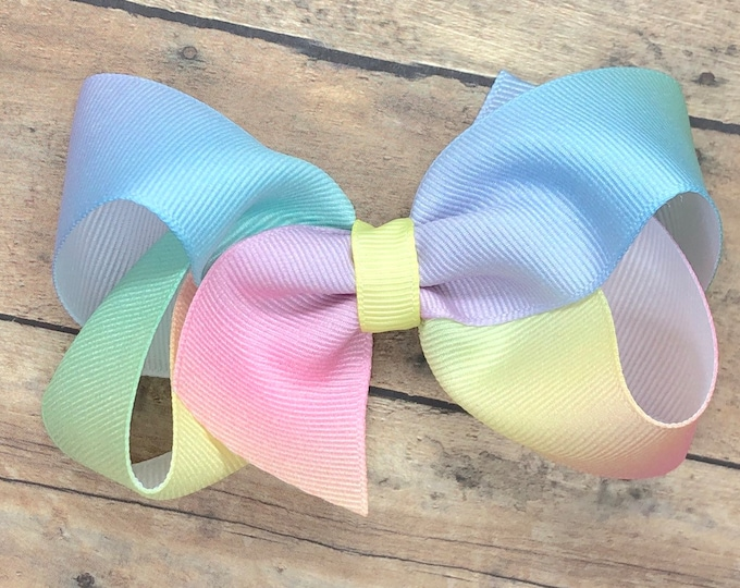 Pastel rainbow hair bow - rainbow bow, hair bows, girls hair bows, hair bows for girls, toddler hair bows, big hair bows, boutique bows