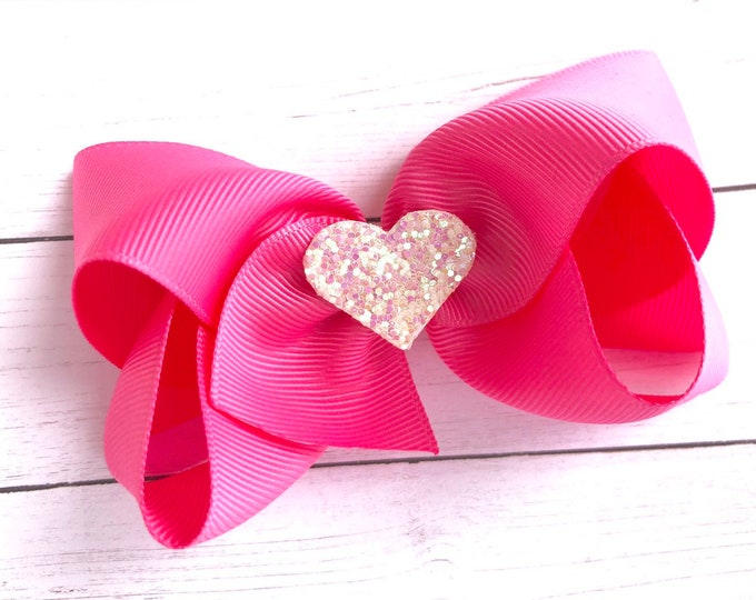 Valentine's Day - hair bows, bows for girls, baby bows, girls bows, toddler bows, pigtail bow, 4 inch hair bows