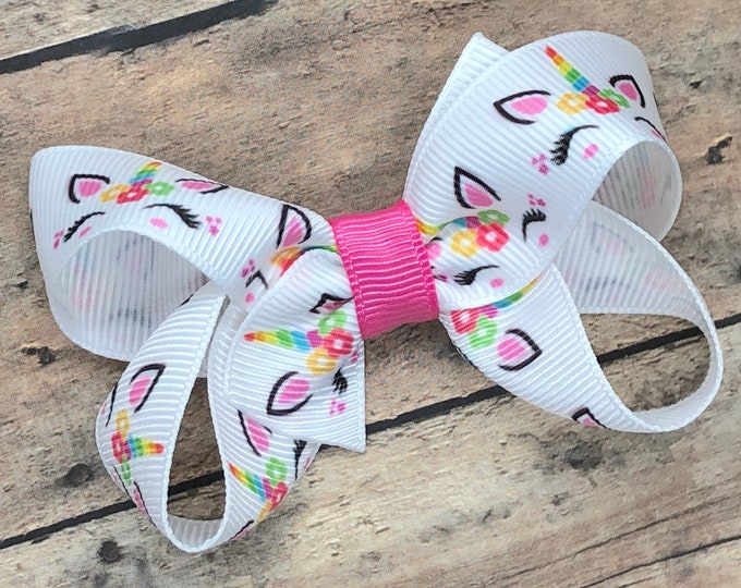 Unicorn hair bow - hair bows, girls bows, unicorn bows, toddler hair bows, hair clips