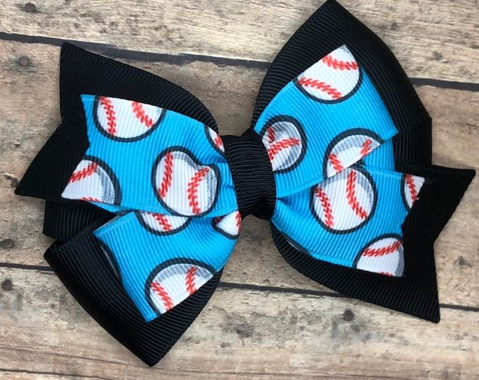 Baseball hair bow - hair bows, bows for girls, toddler hair bows, 4 inch hair bows