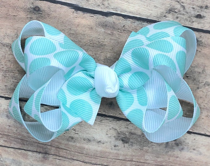 Aqua polka dot hair bow - hair bows, baby bows, girls hair bows, toddler hair bow, 3 inch hair bows