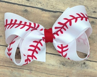 Baseball hair bow - hair bows, bows for girls, toddler hair bows, 4 inch hair bows