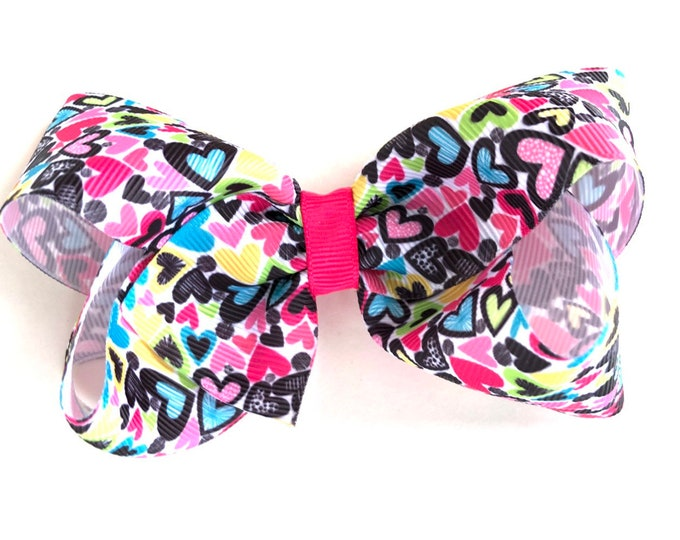 Valentine's Day hair bow - hair bows, girls hair bows, toddler bows, baby bows, hair clips, 4 inch hair bows