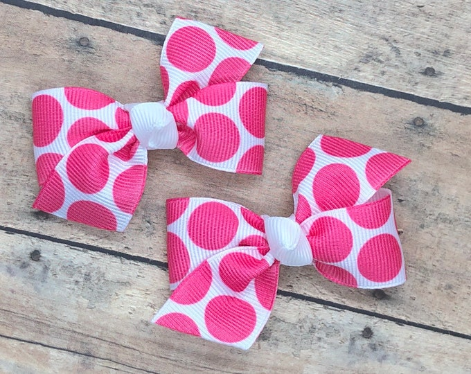Adorable hot pink pigtail bows, hot pink polka dot bows, toddler bows, pigtail bows, baby bows, girls hair bows, pink hair bows, hair clips