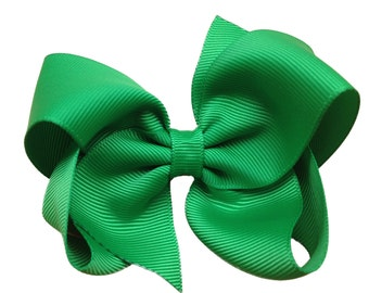 Emerald green hair bow - hair bows, girls bows, boutique bows, toddler bows, big hair bows, 4 inch hair bows