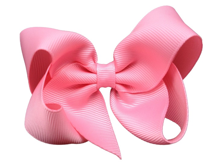 Pink hair bow - hair bows, bows for girls, baby bows, girls bows, toddler bows, pigtail bows, 4 inch hair bows