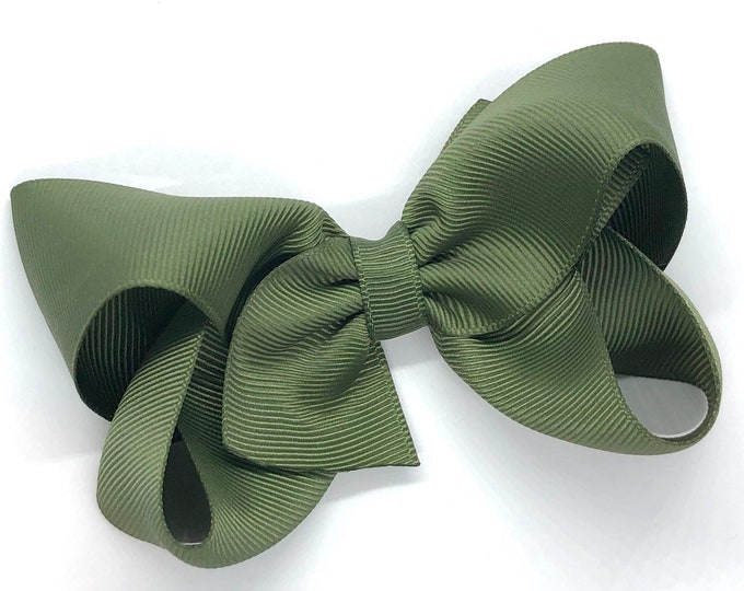 Olive green hair bow - hair bows for girls, toddler hair bows, boutique bows, 4 inch hair bows