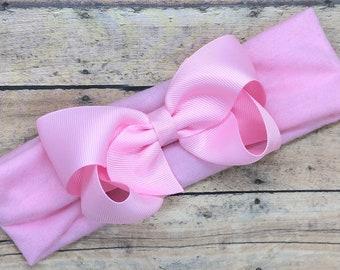 Light pink baby headband - baby girl headband, baby headband bows, newborn headband, baby bows, baby bow headband, hair bows