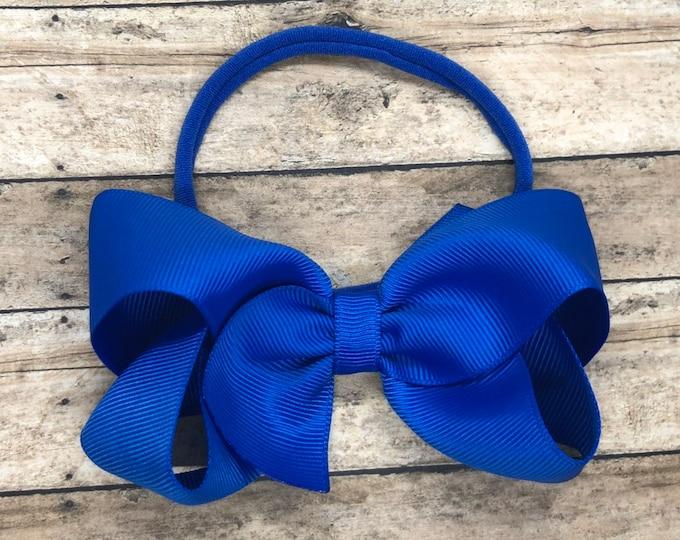 Royal blue baby headband - baby girl headband, nylon headbands, baby headband bows, newborn headband, baby bows, baby hair bows