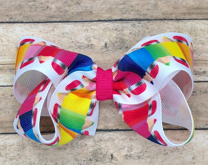 Colored pencils hair bow - hair bows for girls, hair bows, girls bows, baby bows, bows, toddler hair bows