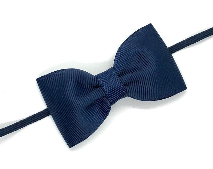 Navy blue baby headband - baby girl headband, baby headband bows, baby bows, newborn headband, baby bow headband, baby girl