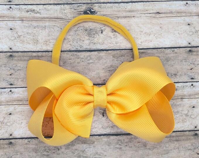 Yellow gold baby headband - baby girl headband, nylon headbands, baby headband bows, newborn headband, baby bows, baby hair bows