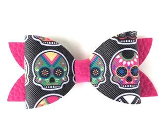 Sugar skulls hair bow - faux leather bow, hair bows, girls bows, toddler hair bows, leather bows