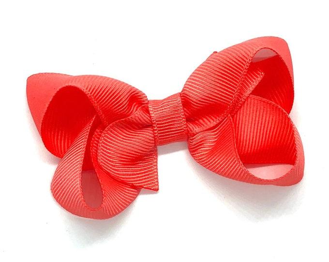 Toddler hair bow - bright coral hair bow, baby bows, hair bows for girls, toddler bows, 3 inch hair bows