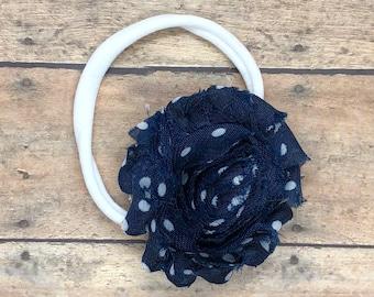 Navy blue baby headband - nylon headband, baby girl headband, baby headband bows, newborn headband, baby headbands, baby bows, baby girl