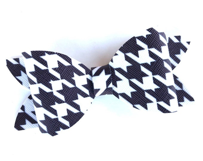 Houndstooth hair bow - faux leather bows, hair bows, bows for girls, toddler hair bows, 4 inch hair bows