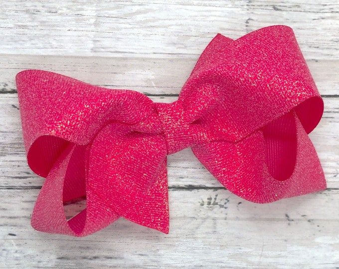 Hot pink hair bow - hair bows for girls, boutique bows, toddler bows, baby bows, big hair bows, 4 inch hair bows, glitter bows