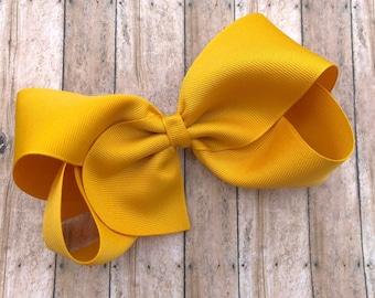 Large hair bow - 6 inch hair bows, mustard yellow hair bow, cheer bows, big hair bows, girls hair bows