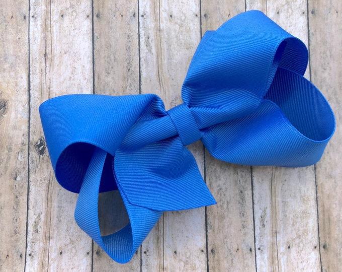 Large hair bow - Kentucky blue hair bow, 6 inch hair bows, cheer bows, big hair bows, hair bows for girls