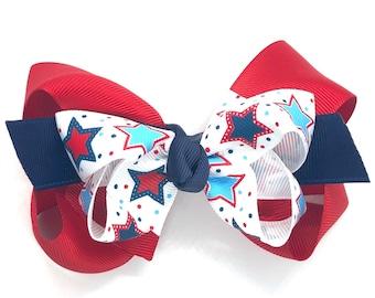 Fourth of July hair bow - hair bows, hair clips, bows for girls, girls hair bows, toddler hair bows, boutique hair bows
