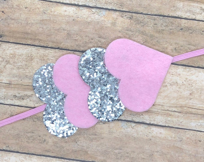 Heart baby headband - baby headband, baby girl headband, baby bows, toddler bows, Valentine's Day headband