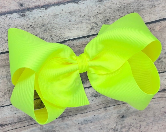 Big hair bow - 6 inch hair bows, cheer bows, neon yellow hair bow, big bows, hair bows for girls, toddler bows