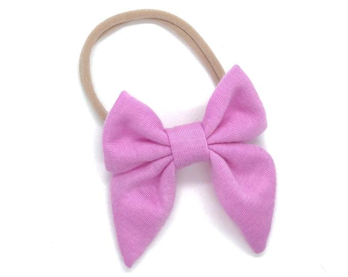 Lilac pink baby headband - nylon headband, baby girl headband, newborn headband, baby bows, fabric hair bow